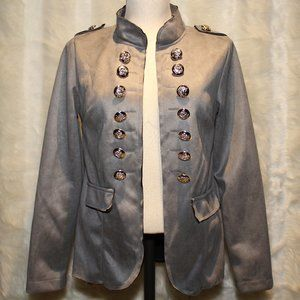Women's Grey Blazer Coat with Silver Buttons